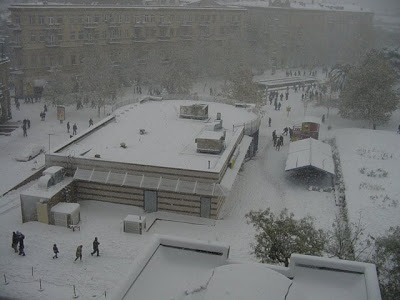 Snow of Fountain Square, Baku Azerbaijan. 1st McDonald's