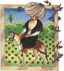 Molla Nasreddin, often appears in stories with his donkey