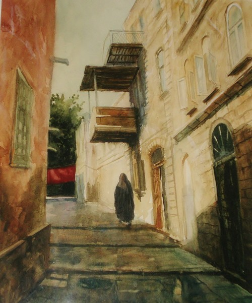 Ichari Shahar, a watercolor of the Old City alley ways circa 11th century AD