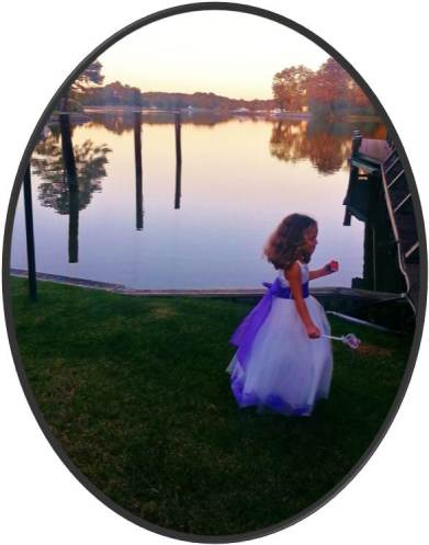 Wedding party by the Bay- water scenery with flower girl