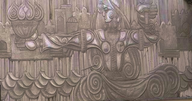 Symbols of the Land of Fire- Metal Art Mural, Ichari Shahar, Baku Azerbaijan