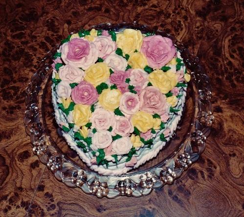 Birthday cake celebration: Caryn's 16th, a heart-shaped basket of flowers