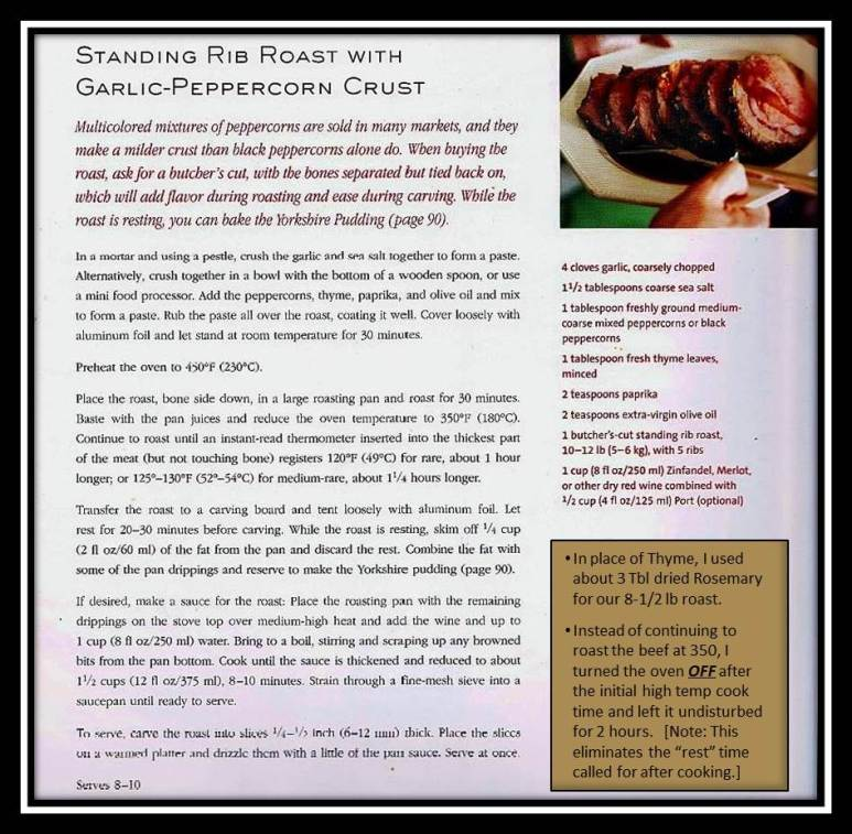 Holiday Dinner 2013: Recipe for Standing_Rib_Roast with Rosemary