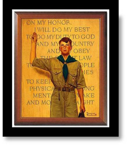 New Year Resolutions: On my honor, in 2014, I will... (Boy Scout  making pledge- Norman Rockwell)