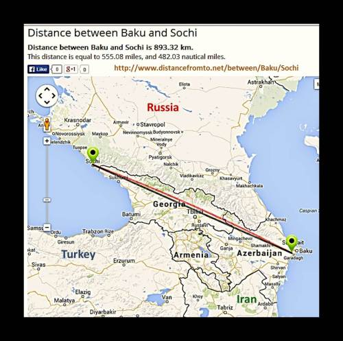 "Euro miles map- Sochi, Russia to Baku, Azerbaijan- as the ""crow flies"""