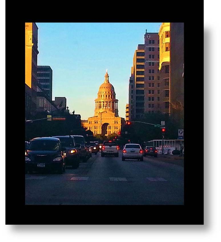 Texas' Pink Granite  State Capitol - viewed from Congress Street, Austin