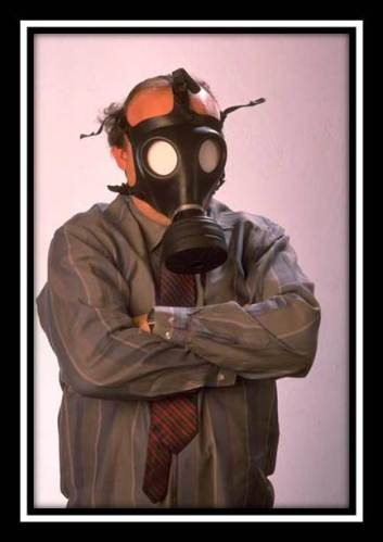 Not Exactly The Of Kind Help I Need: Photo of man with gas mask- spoof on post-Soviet medical help