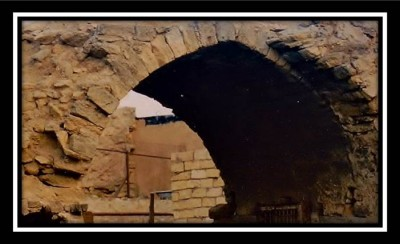 Old Stones or Just Ruble? Picture of stone archway Baku as illustration of renovation in old countries and cultures