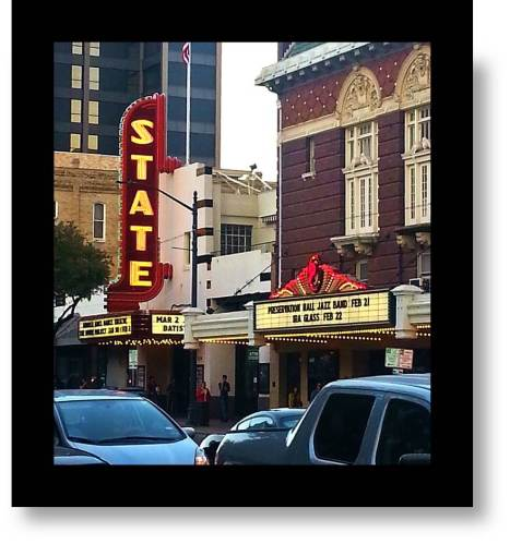 The historic State Theatre and The Paramount, side by side on Congress Street Austin, Texas