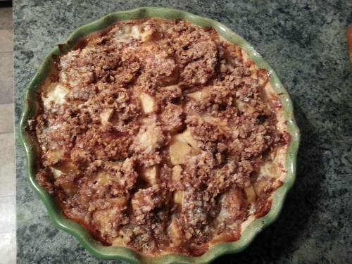 Reduced by half after baking... juicy apples and crispy topping