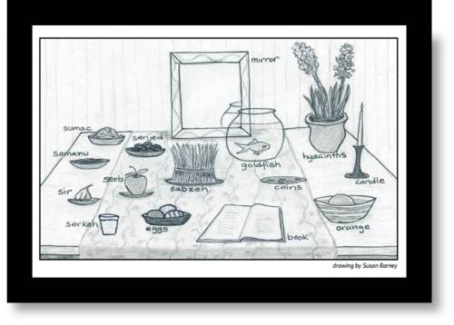Haft Sin Table drawing
