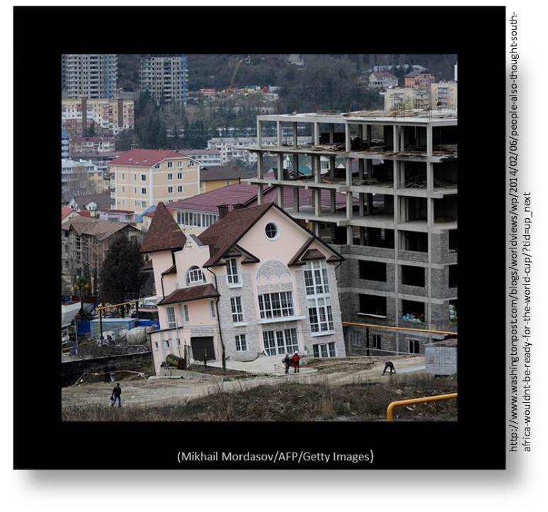 Photo of House in Sochi collapsing due to inadequate foundation-structural support