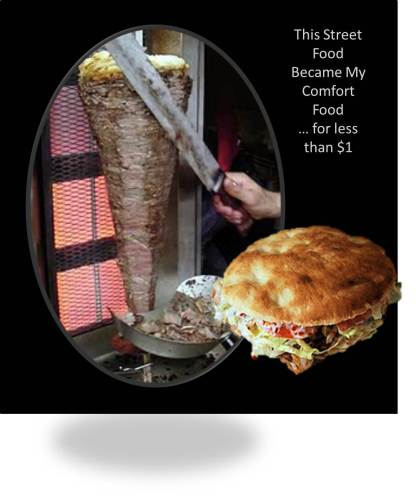 Turkish Doner Kebap meat on a vertical spit and as a sandwich