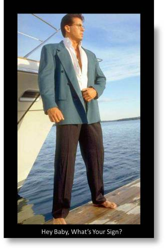 Expat Living- Labels : 80s pick up lines- Man in 1980s style suit by a yacht looking to attract women