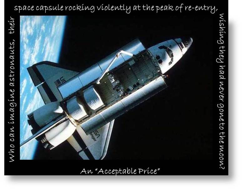 "Craig Storti quote from The Art of Coming Home: space shuttle photo with ""Who can imagine astronauts, their space craft rocking violently on re-entry, wishing they had never gone to the moon?"""