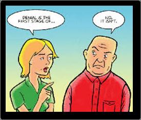 Cartoon depicting denial of having a problem