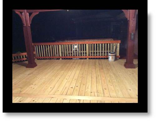 Photo of the new deck with open air pavillion cover