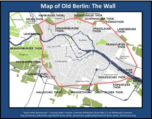 Map showing Checkpoints and Gates of the Berlin Wall