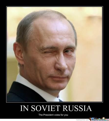 Russian President Vladimir Putin winking