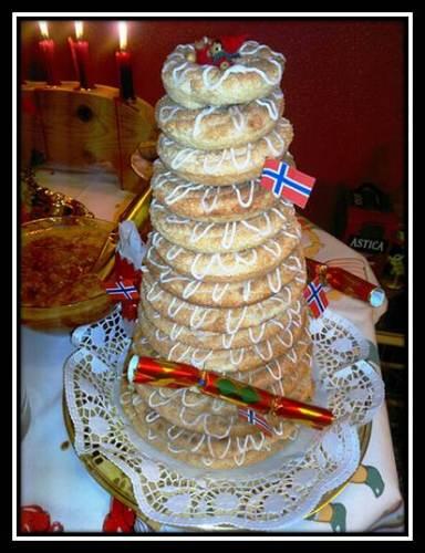 """Photo of Norwegian """"Kransekake"""" dessert for New year"""
