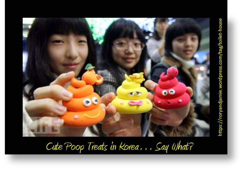 photo image of confection in Korea called poop treats, styled to look like piles of poop colored like peeps marshmallow confections