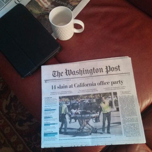 Expat Living: Safest Place to Live - Image of the Washington Post newspaper headline of Shooting in CA 12-02-2015
